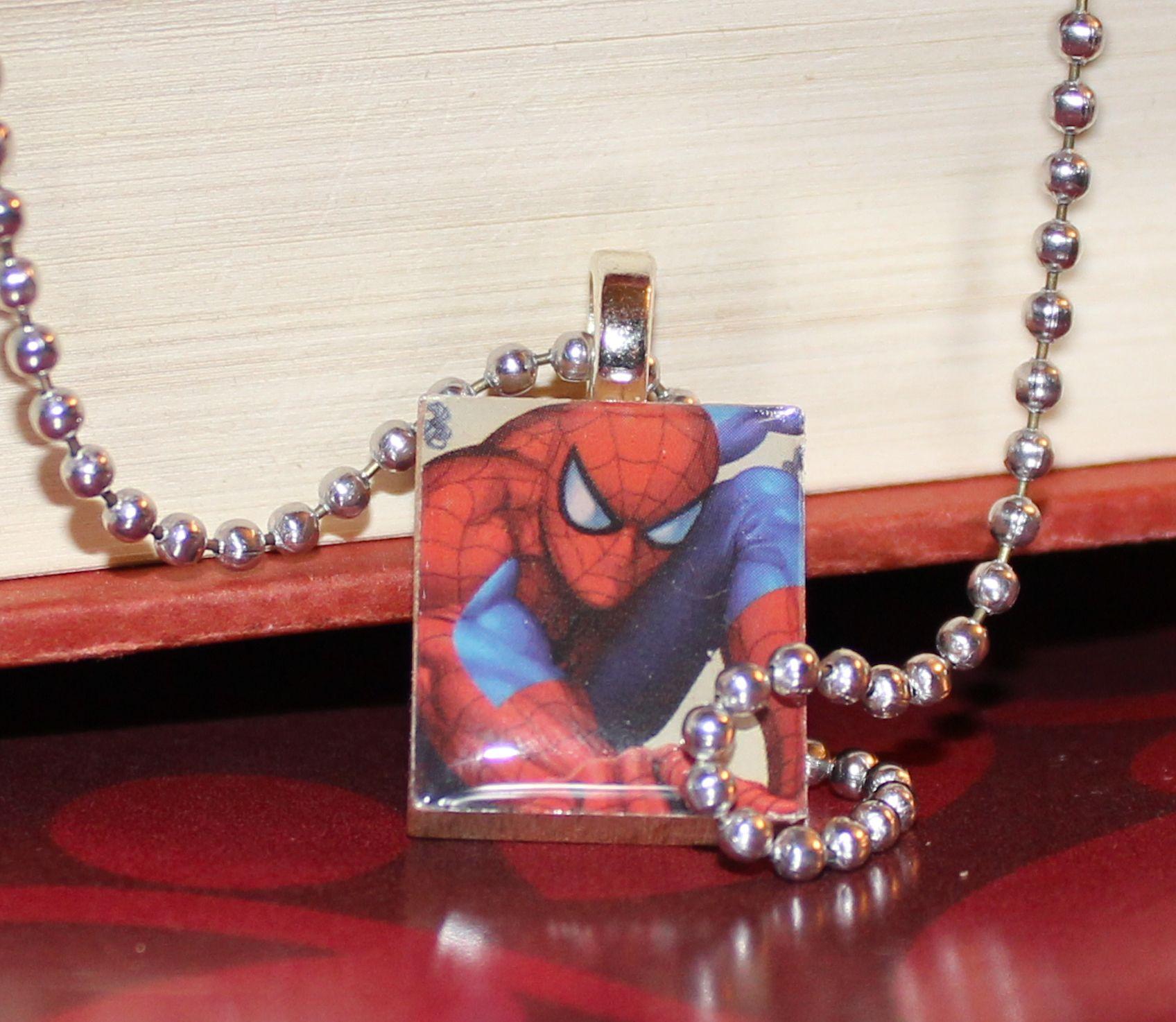Scrabble Tile Spiderman Pendant