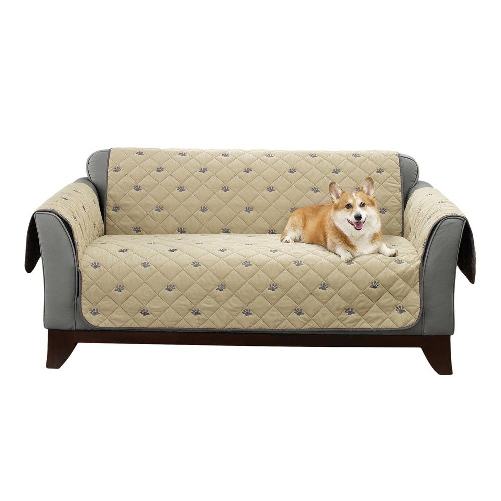 Terrific Tan Deluxe Embroidered Non Slip Loveseat Furniture Cover Andrewgaddart Wooden Chair Designs For Living Room Andrewgaddartcom