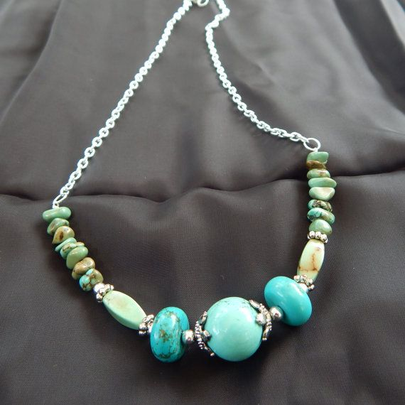 Aqua Turquoise Silver beaded choker by TheVelvetMannequin on Etsy, $15.00
