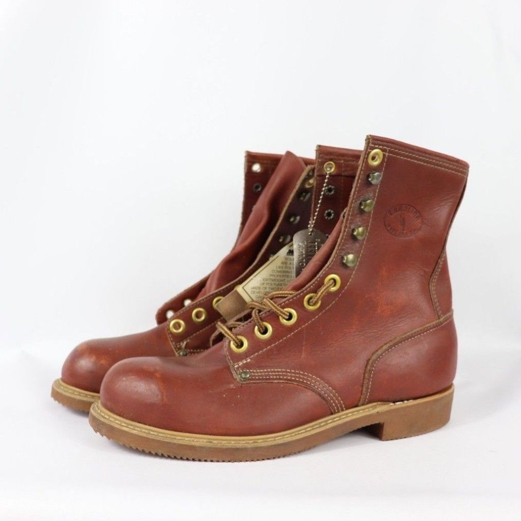 b07f1e6b7f8 Carolina Shoes   Vintage New Carolina Steel Toe Logger Boots 8.5 E ...