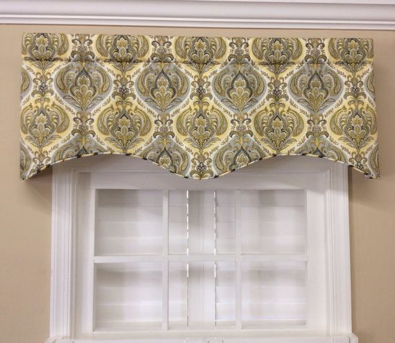 Kitchen Curtains Yellow And Gray: Gray And Yellow Paisley Scalloped Valance By