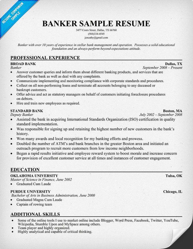 banker resume sample
