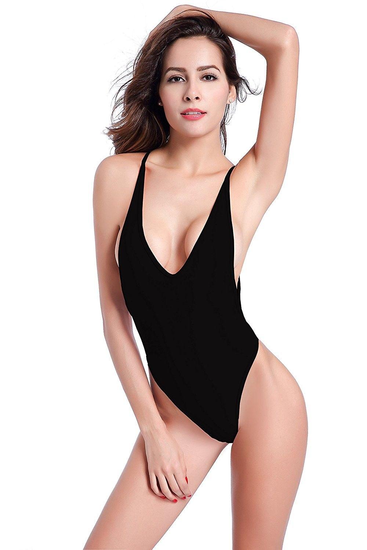 f8672033c50 Women's Clothing, Swimsuits & Cover Ups, Bikinis, Sets, Women's High Cut  One Piece Backless Thong Brazilian Bikini Swimsuits - Manhattan Black -  C817Y0NXQ0W ...