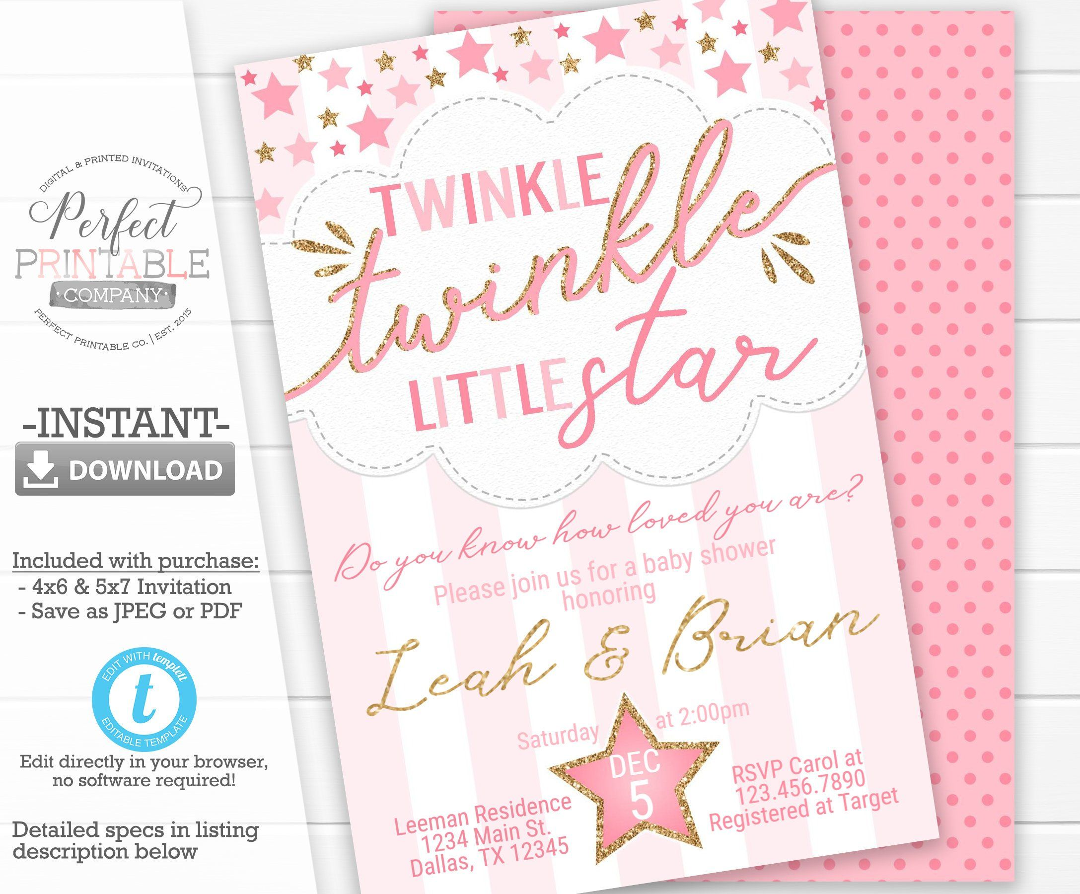 Twinkle Twinkle Little Star Baby Shower Invitation, Invite, Pink and