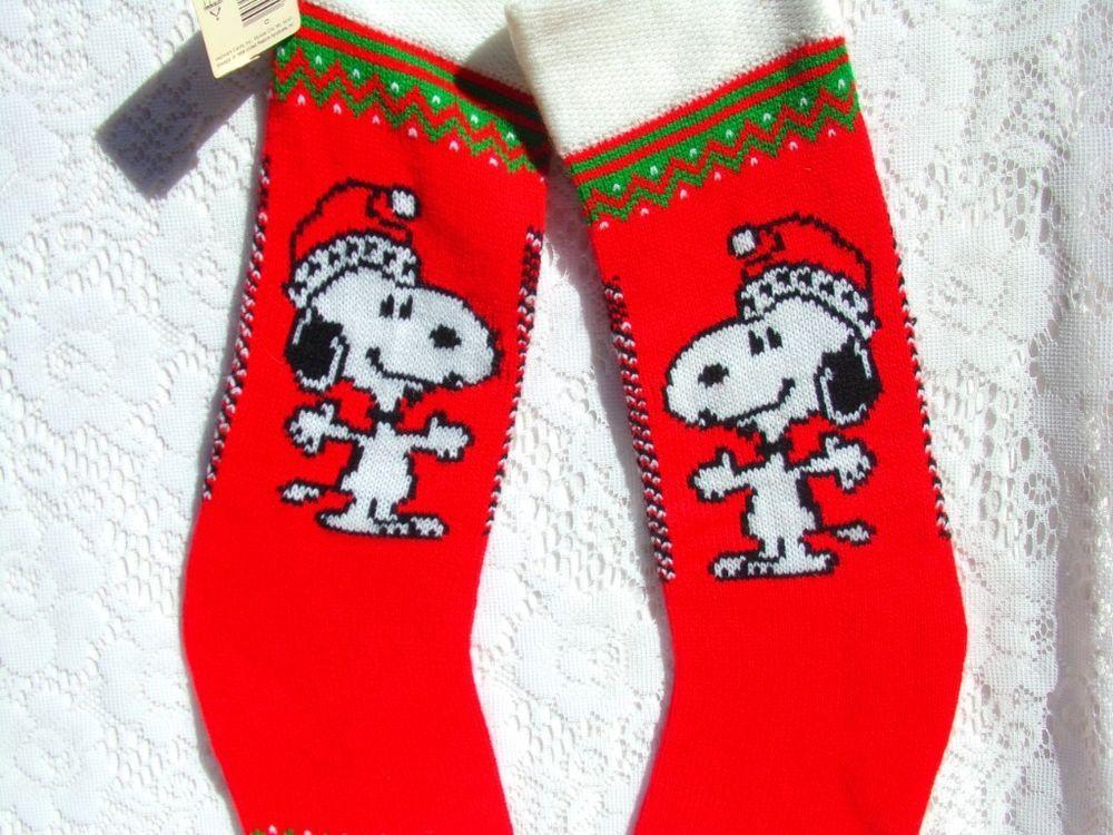 vintage nwt snoopy christmas stocking hanging knit set of 2 - Snoopy Christmas Stocking
