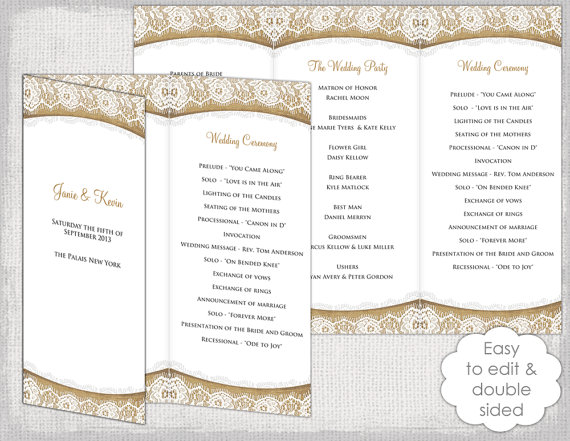 Rustic Wedding Program Template Burlap  By Diyweddingsprintable