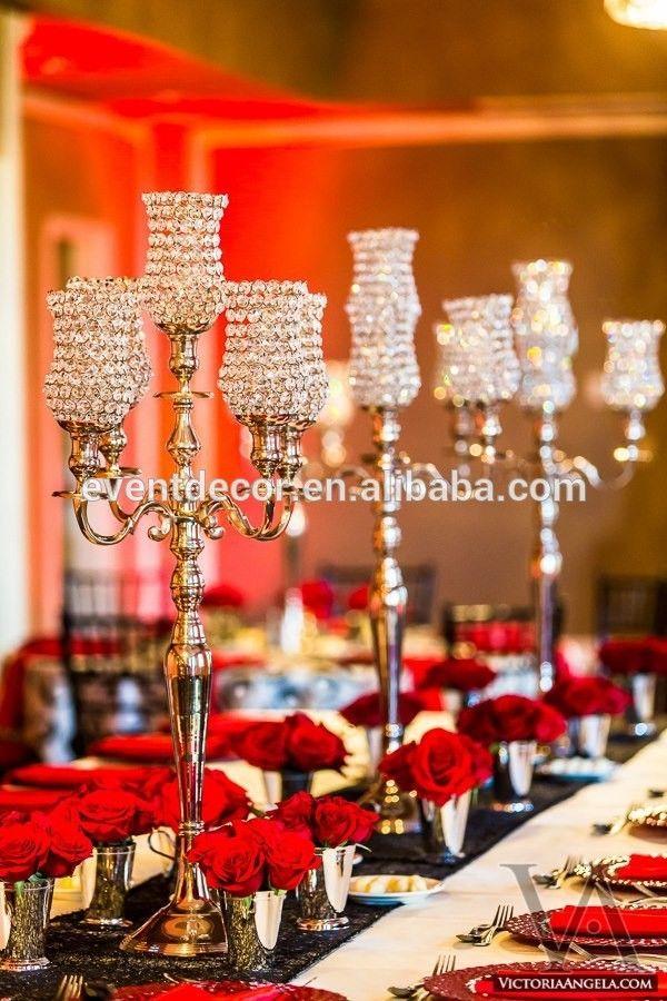 Luxury crystal candelabra , wedding brass candelabra centerpieces
