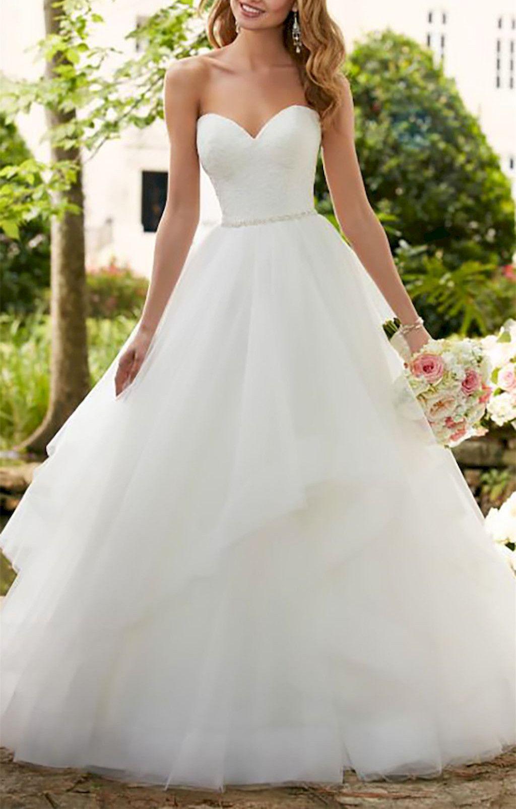 Pearl belt for wedding dress  Romantic White Lace Wedding DressSweetheart Tulle Bridal Dress