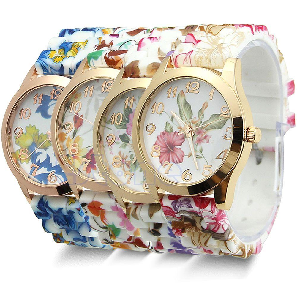 Women Chic Silicone Strap Flower Style Jelly Sports Analog Quartz Wrist Watch #Casual