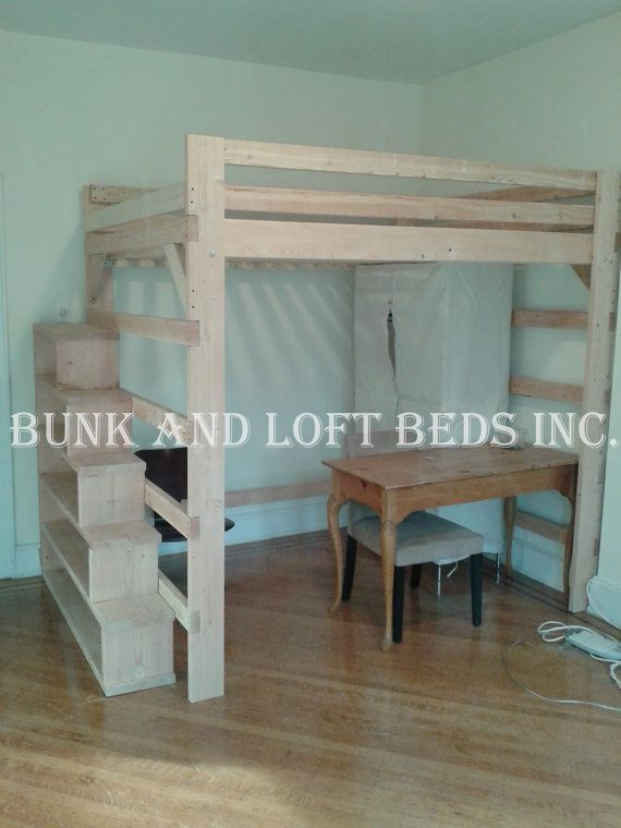 Attractive Extra High Loft Bed #8: Full Size Extra Tall Loft Bed With Custom Made Stair Case Shelf