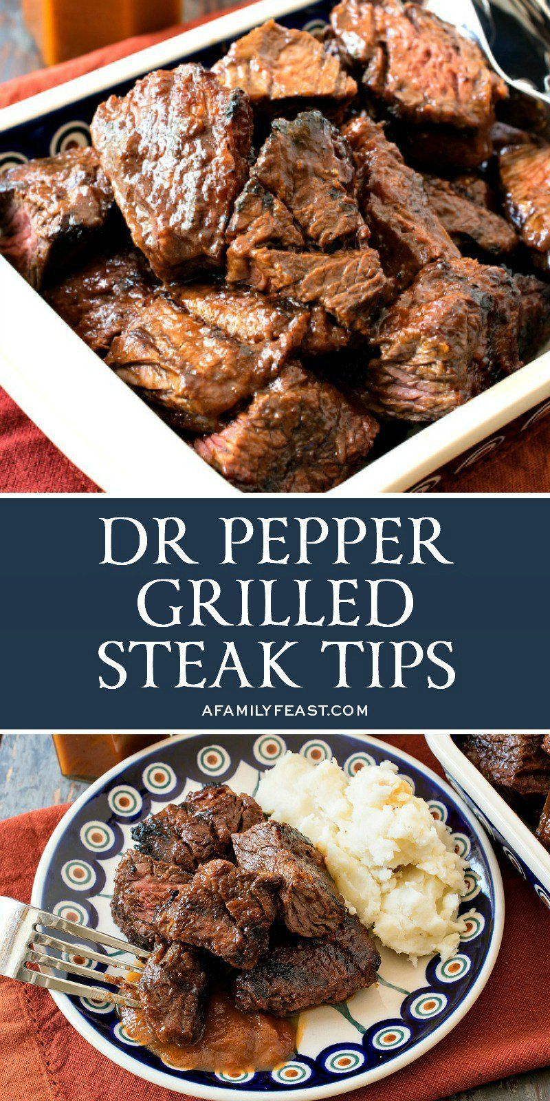 Pepper Grilled Steak Tips Tender, juicy and loaded with flavor, our Dr Pepper Grilled Steak Tips are sure to become one of your favorite ways to cook steak on the grill!Tender, juicy and loaded with flavor, our Dr Pepper Grilled Steak Tips are sure to become one of your favorite ways to cook steak on the grill!