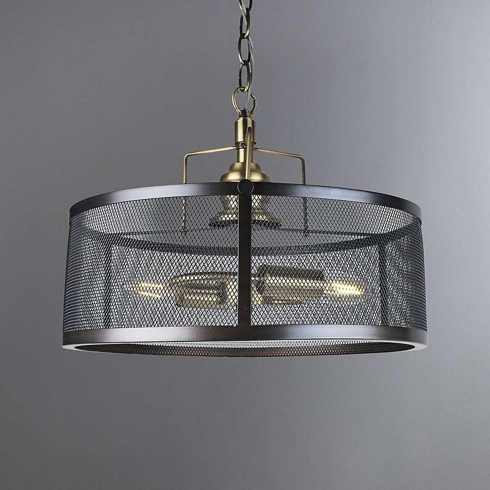 Kalix 2 Light Mesh Black Gold Ceiling Fitting Metal Lighting
