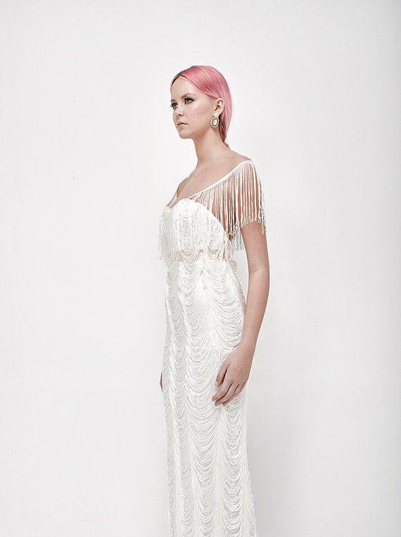 fringes wedding dress vintage style white wedding dress with v back ...