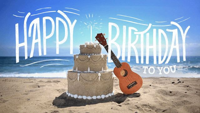 Wish Them A Relaxing Happy Birthday On The Beach With This Cute Summer Ecard Happy Birthday Guitar Happy Birthday Dear Friend Birthday Gif