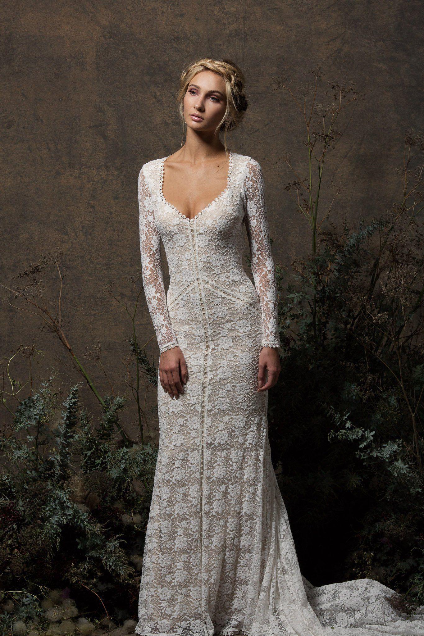 Valentina Backless Lace Wedding Dress Backless Lace Wedding Dress Long Sleeve Wedding Dress Lace Wedding Dresses Lace