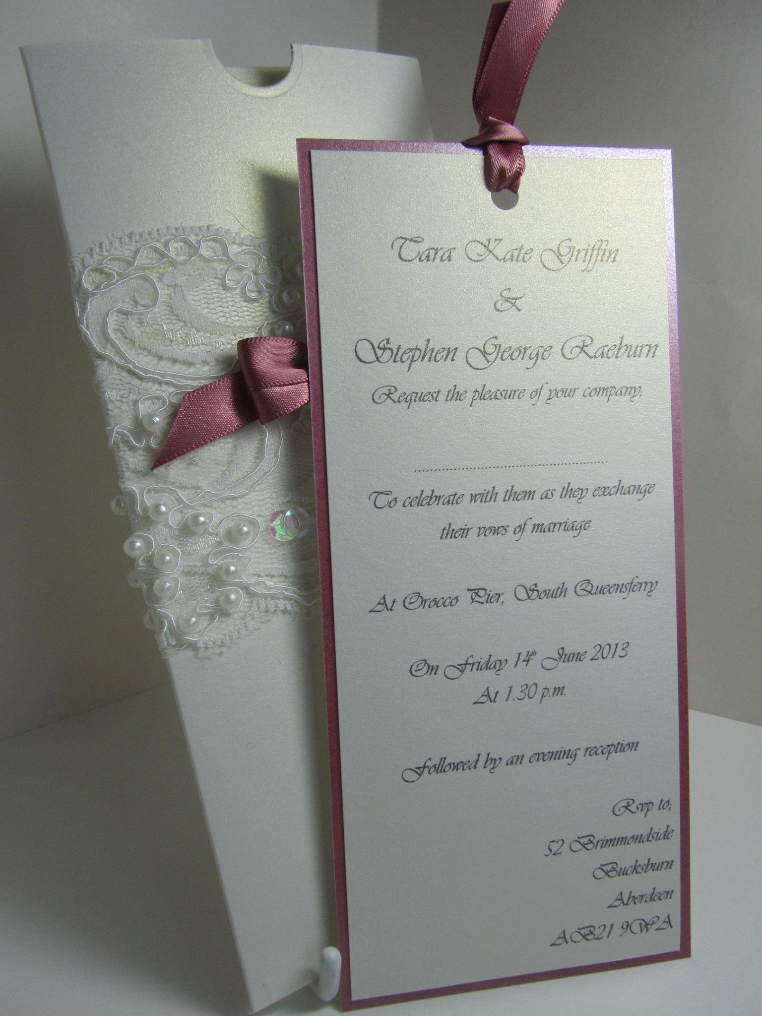 Lace Pearls And Ribbon Pocket Wedding Invitations Wedding Invitation Cards Wedding Stationery