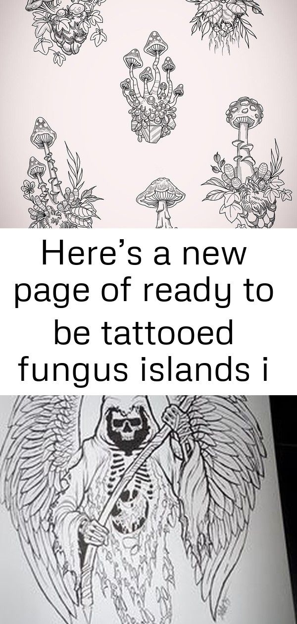 Here's a new page of ready to be tattooed fungus islands i lined up while watching the new baby. fin