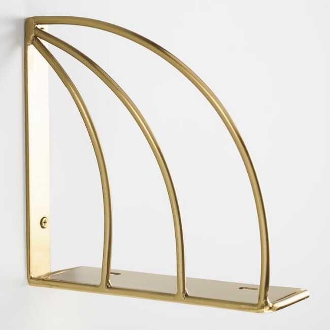 Gold Art Deco Mix & Match Shelf Brackets Set Of 2