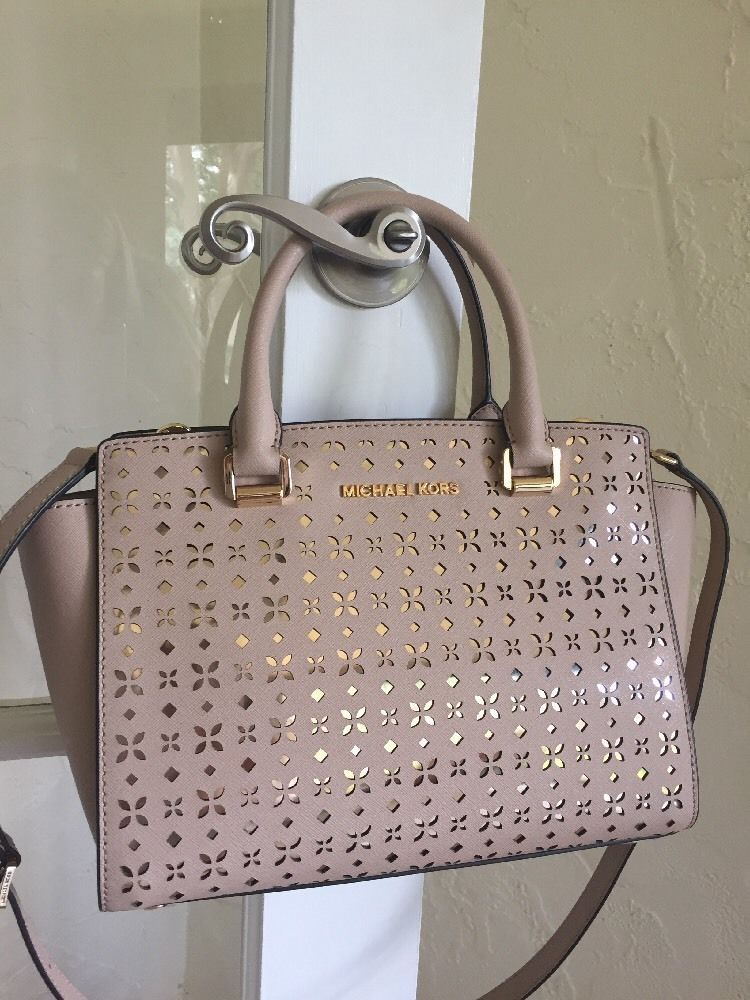 4c3c355ba8 Michael Michael Kors Selma Medium Satchel Floral Perforated Bisque Light  Gold