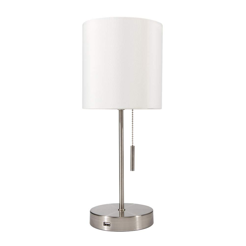 Deeplite Simple Design Table Lamp Small Lamp With Usb Port White Lamp Shade And Silver Metal Base Modern Usb In 2020 Table Lamp White Lamp Shade Silver Table Lamps #silver #living #room #lamps