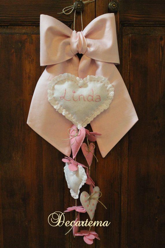 Fiocco nascita rosa cotone semplice in stile shabby di