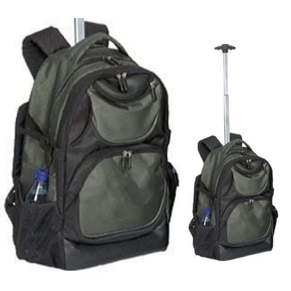 Rolling Laptop Backpack Green Student Wheeled