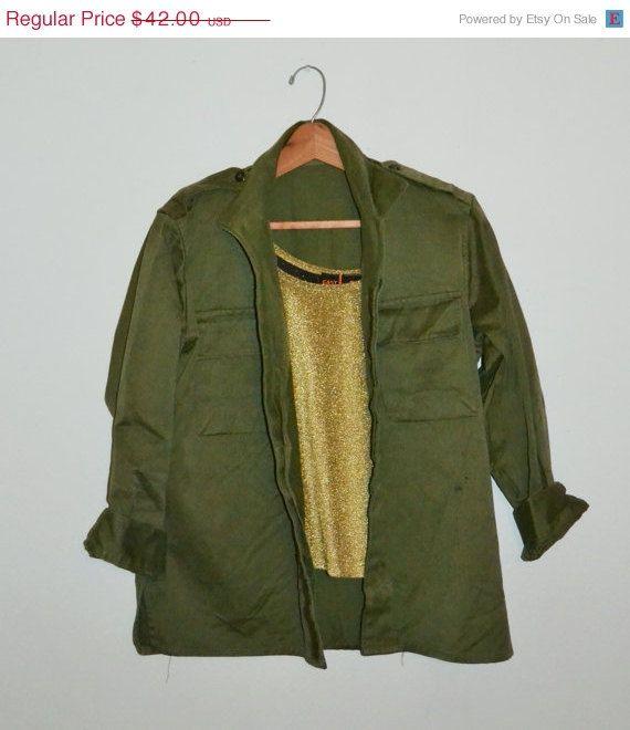 ON SALE Vintage Military Shirt Jacket Olive by founditinatlanta, $37.80