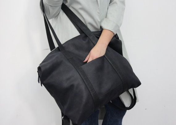 Matt black leather backpack women leather tote oversize shoulder