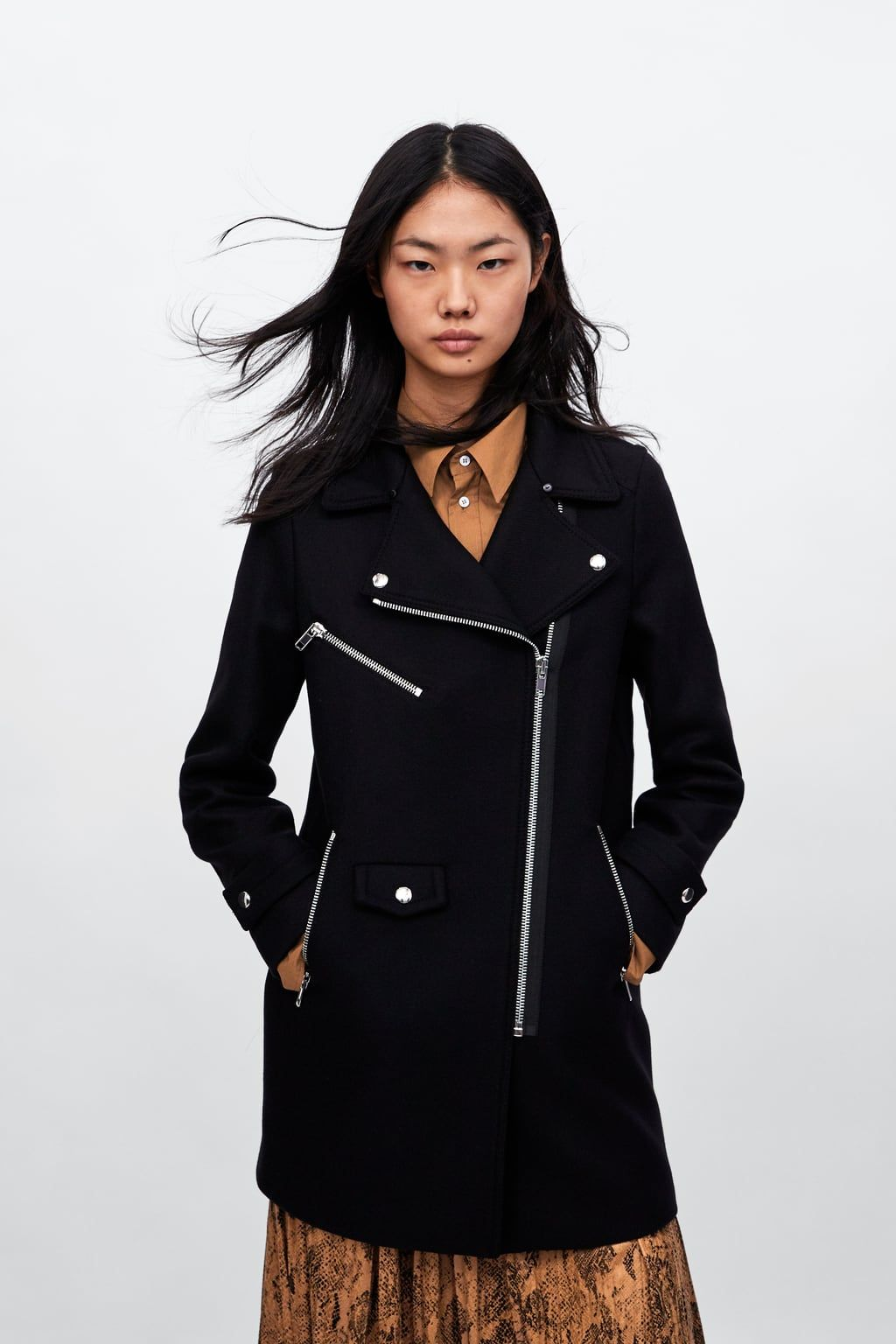 09cb514bbbb8 Image 6 of COMBINED BIKER COAT from Zara   Fall 2018   Pinterest ...