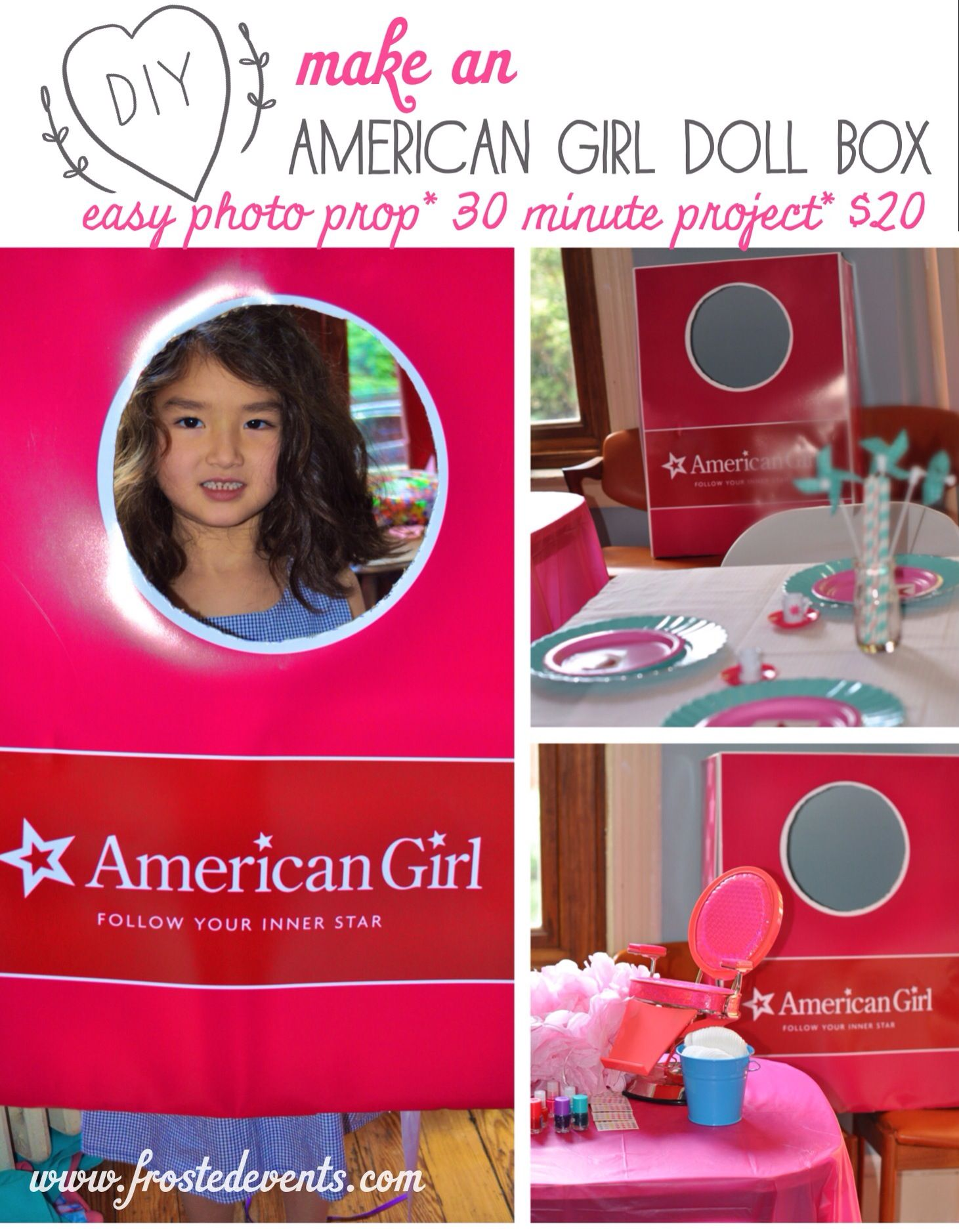 diy how to make an american girl doll box photo prop kids party