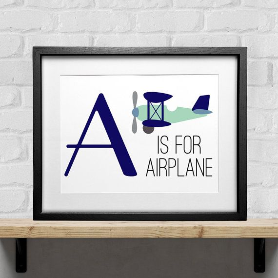 A is for Airplane!  This adorable aviation print is perfect for your aviation themed nursery, or your little future pilots room!