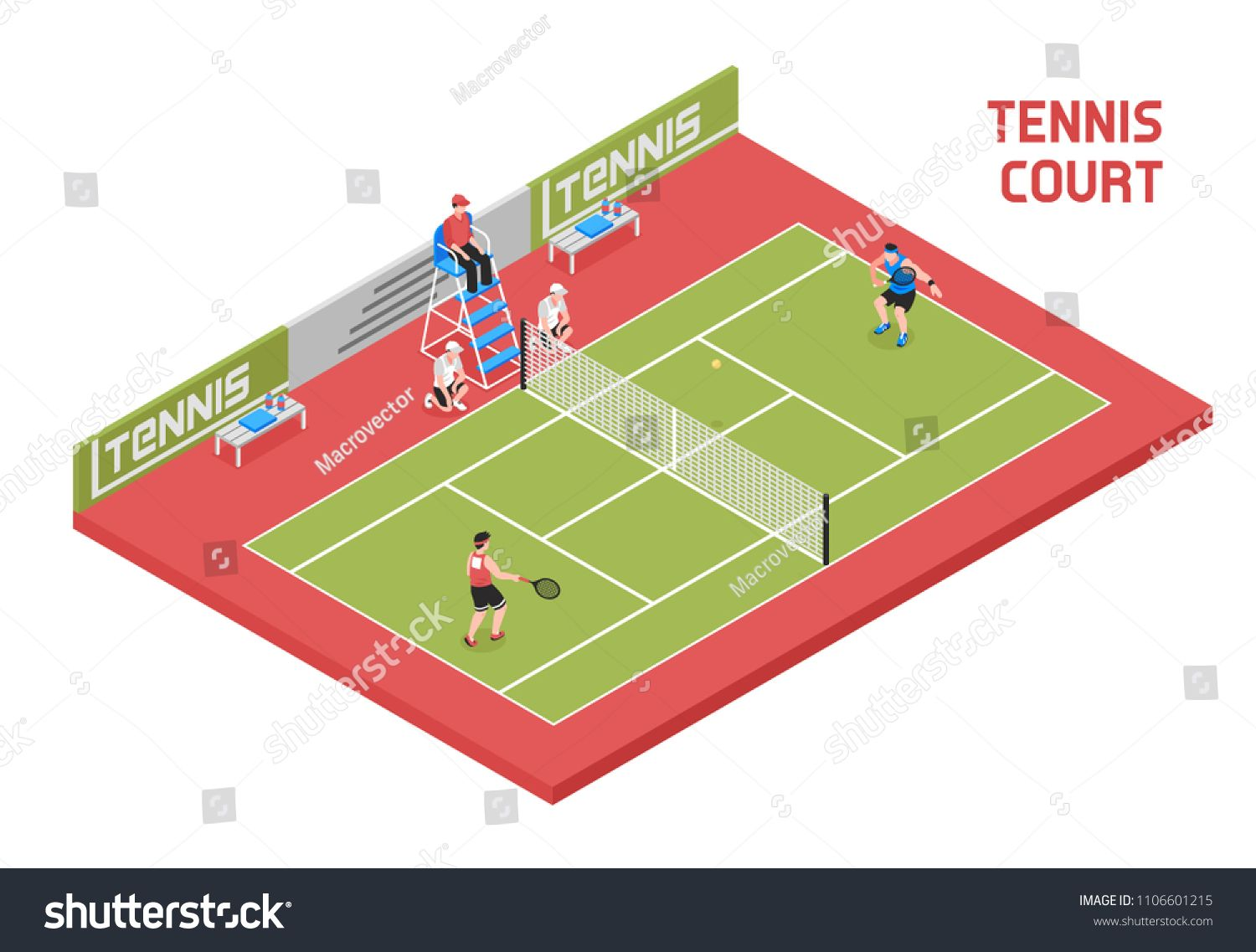 Sport Field Tennis Court Isometric Composition With 2 Players Ball Boys And Referee In Tall Chair Vector Illustration Ad S Tennis Court Soccer Field Sports