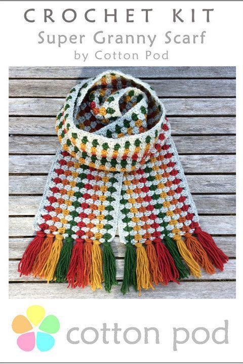 Crochet Kit Super Granny Scarf By Cotton Pod Cotton Pod Crochet