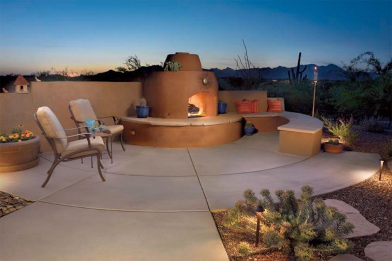 Outdoor Fire Features Tucson Az Patio Colored Concrete Patio