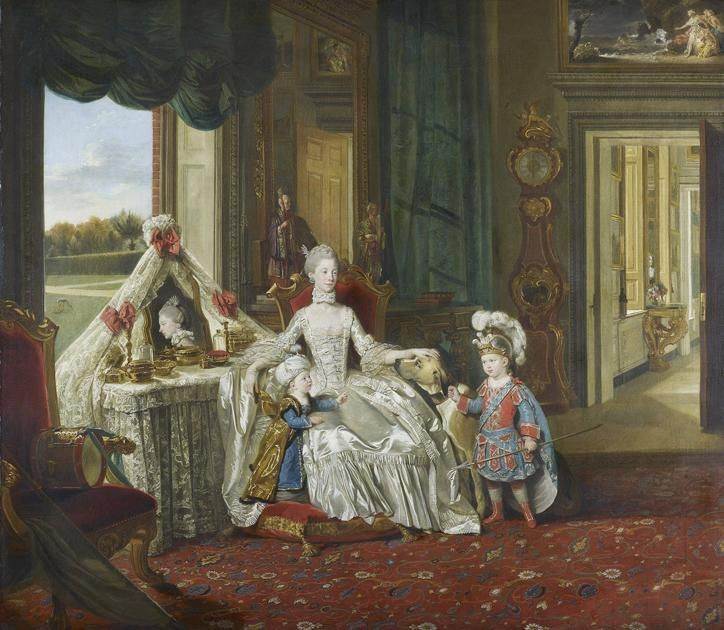 via @SilveryTongue: Queen Charlotte with her two eldest sons, c.1765 by Johann Zoffany