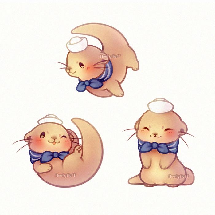 Kawaii Sailor Otter Cute Animal Drawings Cute Doodles Animal Drawings