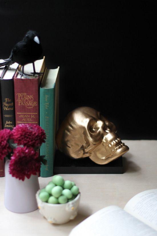 Halloween DIY Make Weighted Bookends from Dollar Store Skulls - halloween diy ideas