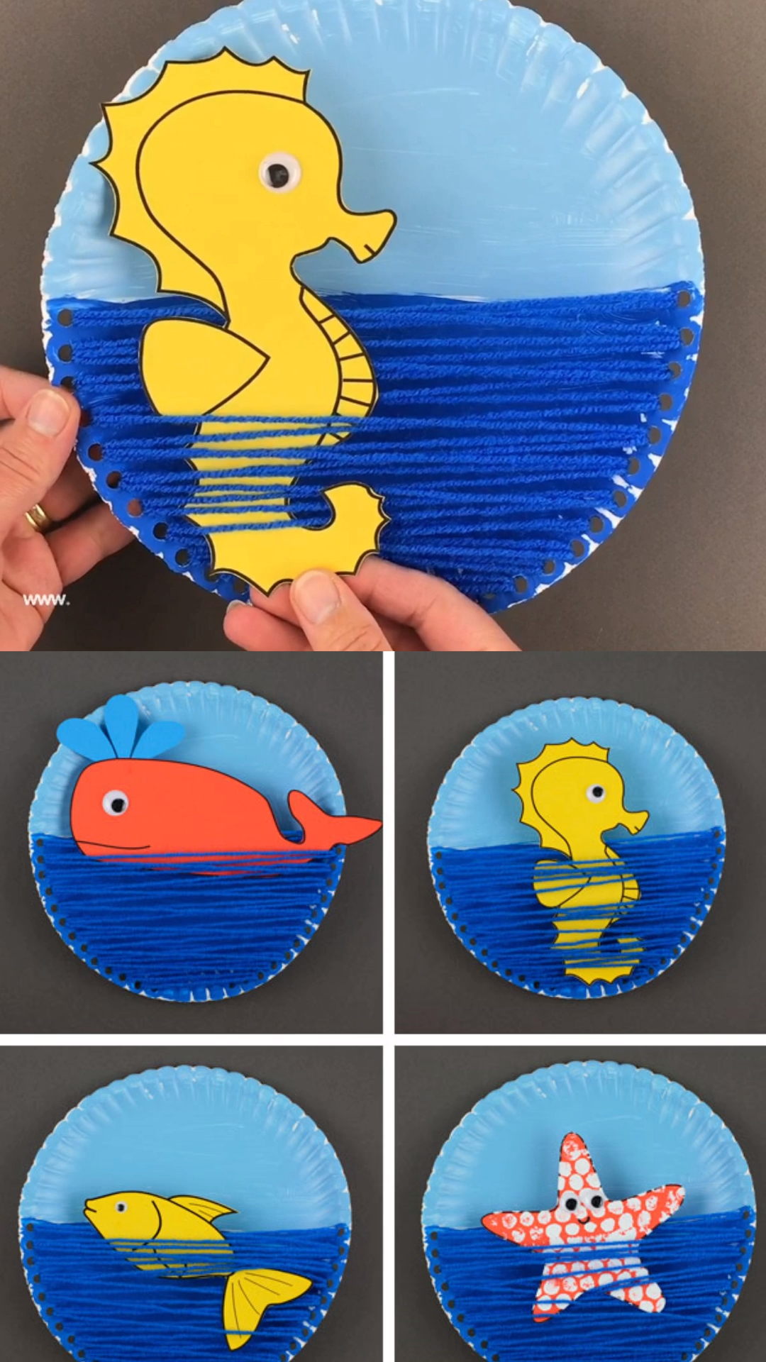 Paper plate ocean craft A yarn and paper plate ocean craft for kids to make this summer An interactive sea craft for preschoolers and older kids with ocean animals seahor...