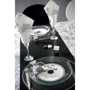 sets de table disque vinyle noir rock 39 n roll 34 cm les 6 34 places and 2. Black Bedroom Furniture Sets. Home Design Ideas