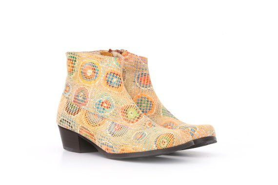 a58c384871f Women's ankle boots colorful leather booties shoes , wide handmade leather  shoes , ADIKILAV , free