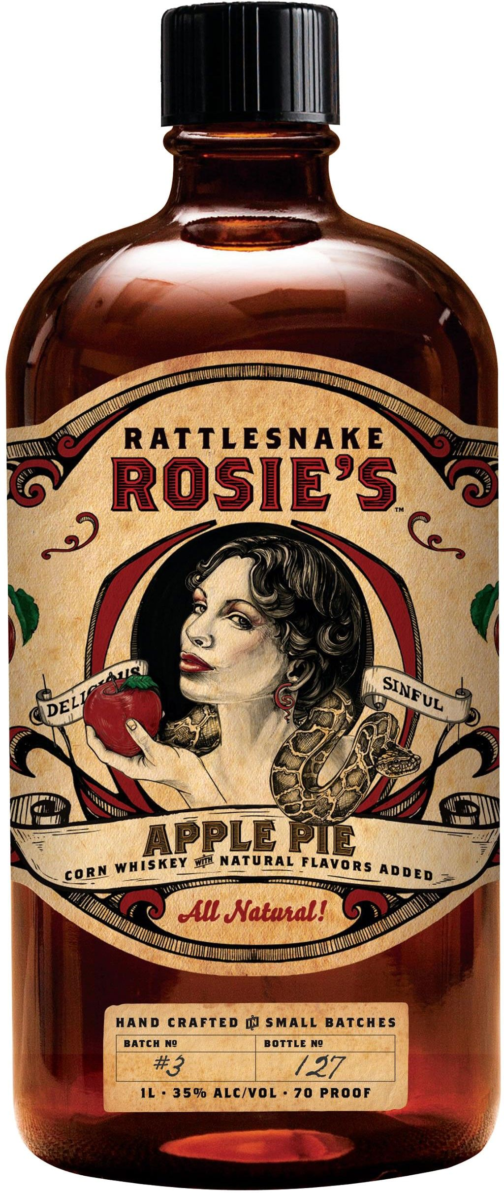 Made from 100% corn whiskey mixed with local New York apple cider, cinnamon, vanilla and brown sugar, Rattlesnake Rosie's Apple Pie Whiskey is an updated take on the traditional apple pie moonshines which have been around for generations.