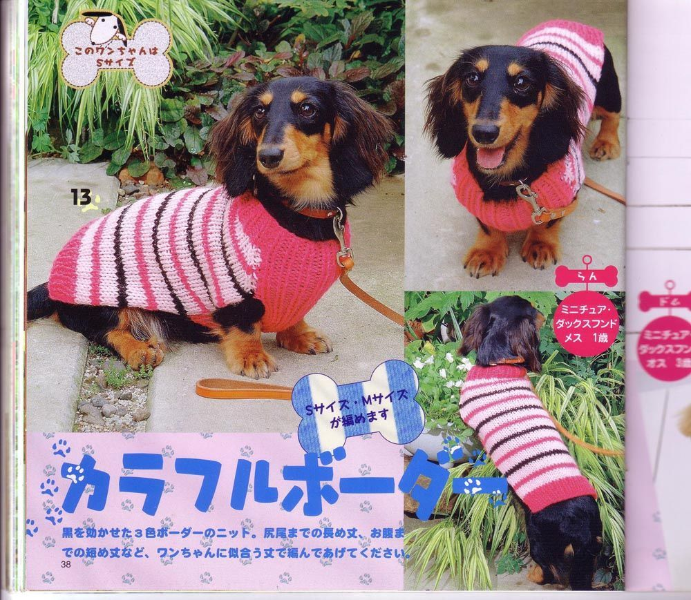 Dog Clothes Knitting and Crochet Patterns. Striped knit dog coat ...