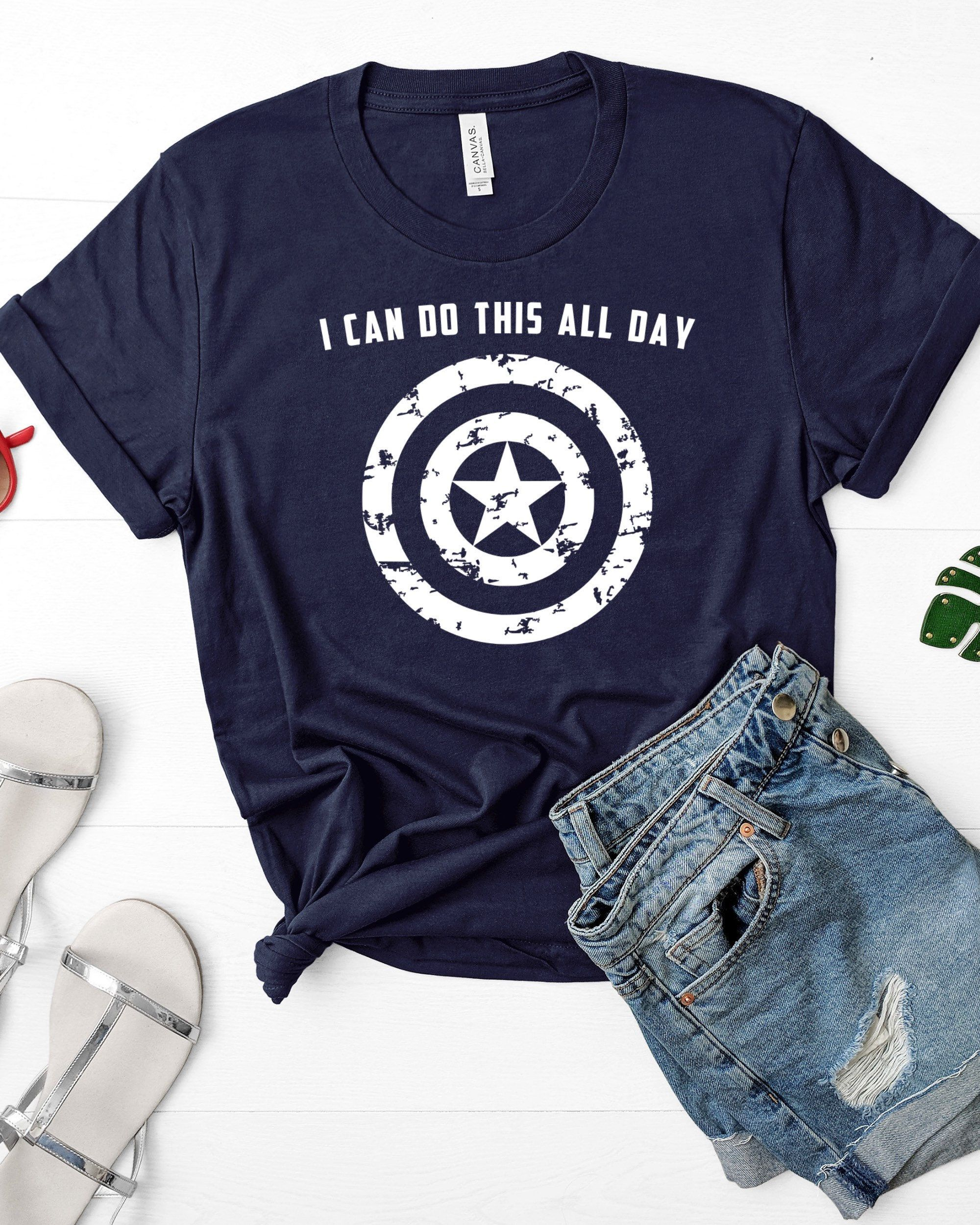 I Can Do This All Day American Shield Nerdy Short Sleeve T-Shirt Tees Tshirts