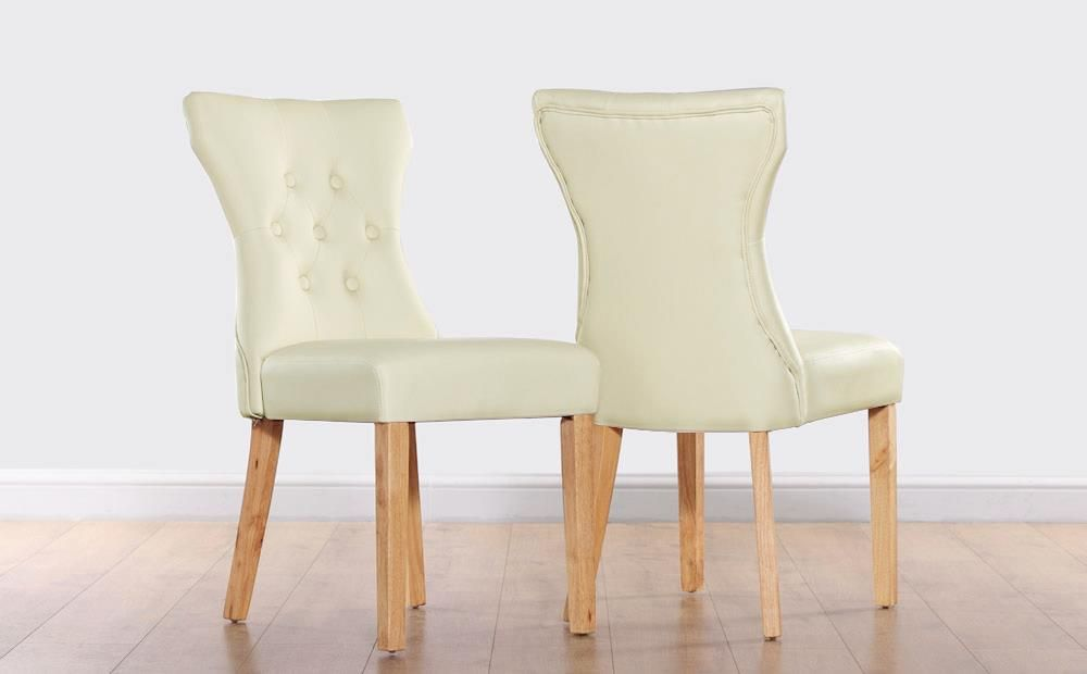 Bewley Ivory Leather Button Back Dining Chair Oak Leg Dining