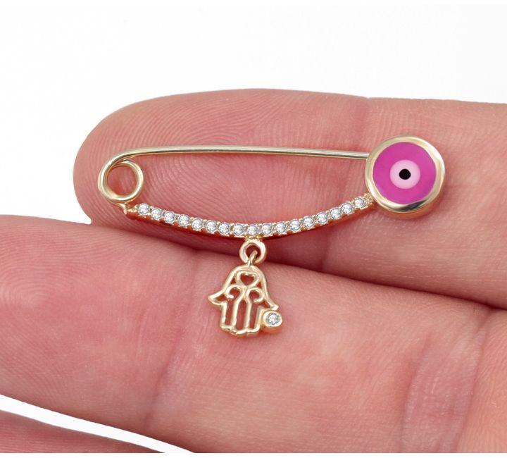 14k Gold Evil Eye Baby Protector Hamsa Pin Evil Eye Jewelry Hamsa Hand Childrens Jewelry