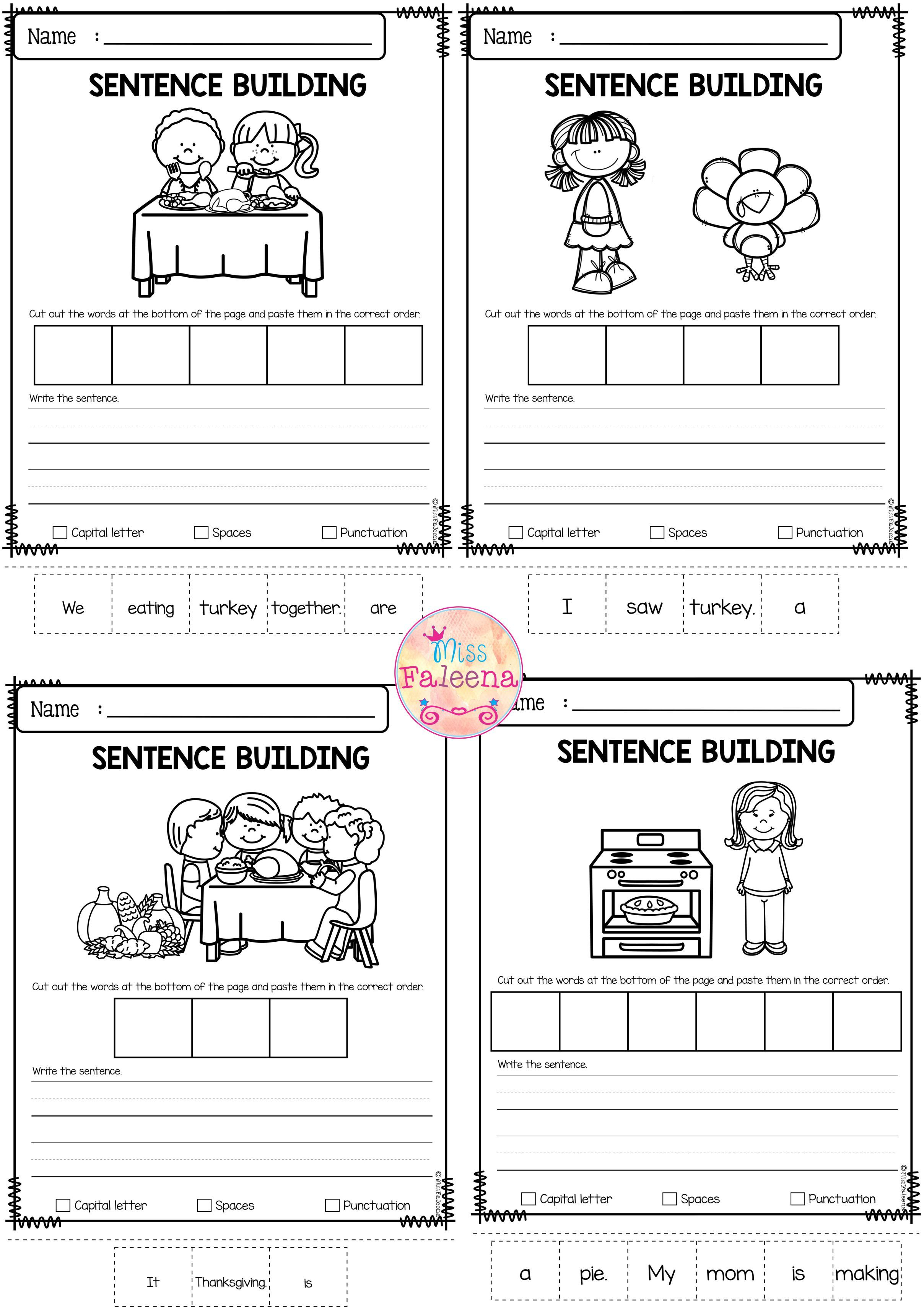 November Sentence Building With Images