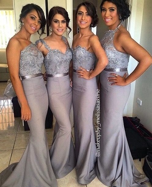 acb14701380 Grey Convertible Bridesmaid Dresses 2015 Sexy Mixed Styles Lace Chiffon  Dresses For Maid of Honor Custom Made Evening Gowns Long Prom Dress