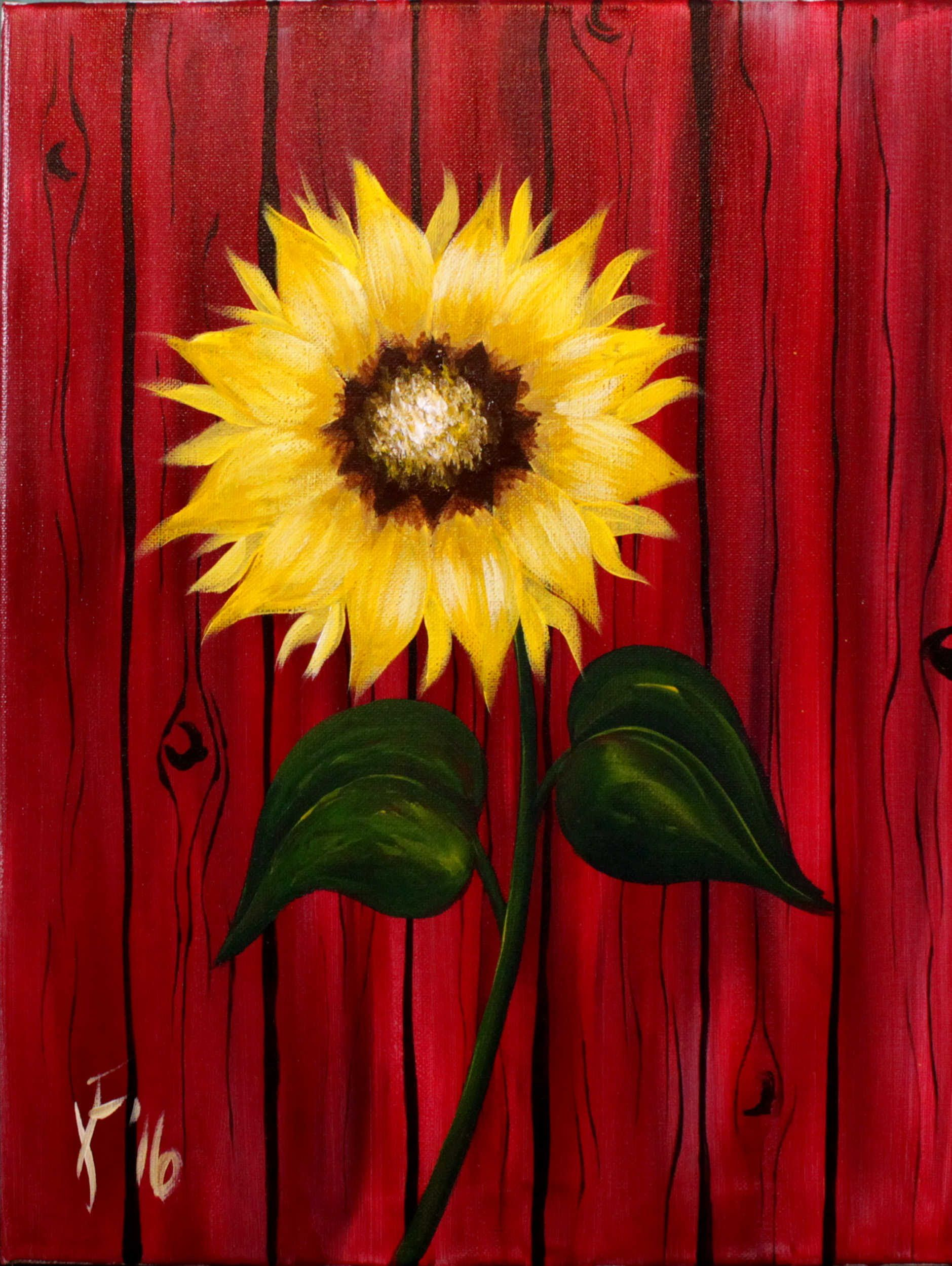 Autum sunflower step by step acrylic painting on canvas for Fall paintings easy