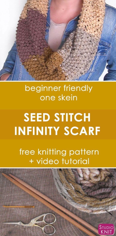 Seed Stitch Infinity Scarf Cowl