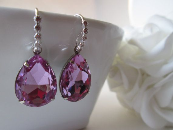 Purple Rhinestone Earring, Amethyst Earring, Lavender Earrings, Lilac Earrings, Rhinestone Bridesmaids Earrings Rhinestone Jewelry